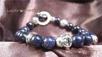 2014 new Free Shipping silver blue stone Buddha  Bracelet Wholesale BT111