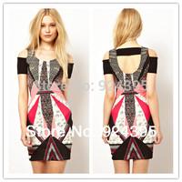 new 2014 High Quality Women hot selling printed BANDAGE Dress HL evening dress summer dress party dress