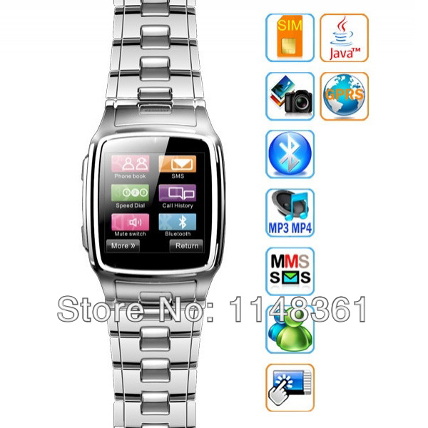 "New Wrist Watch Phone GSM Quad Band Unlocked Mobile With 1.6"" Touch Screen Camera Watch Phone Mp3/4 FM Free Shipping(China (Mainland))"
