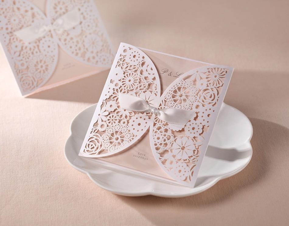 Lindo Vintage Lace flor recorte convites de casamento cartões com arco em branco personalização & laser cut convites de casamento(China (Mainland))