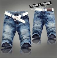 Free shipping, hot! 2014 fashion brand designer men's denim jeans shorts pants.Light blue denim shorts