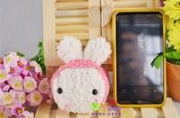 Free shipping  Cute couple balls stuffed toy rabbit mobile phone pendant bag Wedding Gifts   9.5cm