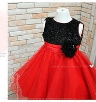 new 2014 children's girls party dress ,kids summer/winter dresses, girl sleeveless princess black-red dress, brand new