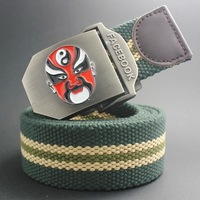 New Fashion Vintage Chinese Opera Facebook design military thicken canvas belts for men waistband metal automatic buckle FBB03