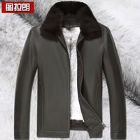 Mink cross liner deerskin nick coat male genuine leather clothing male short design turn-down collar