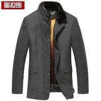 Wool wool coat male marten overcoat gold mink liner male nick coat medium-long trench