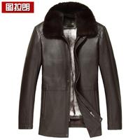 Deerskin leather clothing male cross gold mink liner genuine leather clothing male nick coat