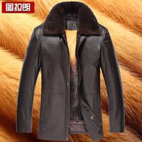 Male sheepskin mink liner genuine leather clothing nick coat gold leather clothing male marten overcoat