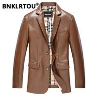 Bnklrtou 2014 genuine leather clothing male genuine leather suit men's slim leather jacket