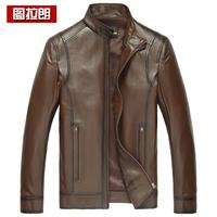 2014 men's sheepskin jacket men's clothing genuine leather vintage clothing leather jacket male genuine leather