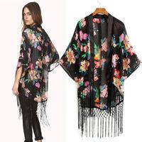 Fashion Women's 2014 New Arrival Flower Print Kimono-style Open Front Fly Chiffon Shirt, Tassel Chiffon Top