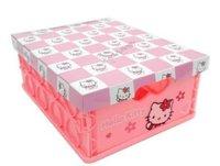 Pink Hello Kitty Small Plastic Folding Organizer Storage Box Case