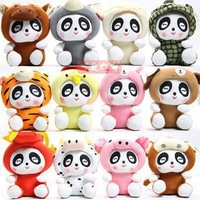 Freeshipping 12 zodiac sign panda plush toys 12pcs/set 4sets/lot