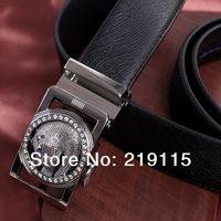 Leopard belt buckle leather belt men's automatic belt buckle leather belt 3.5cm Korean wild
