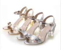 Fashion Sexy 2014 V-neck  high-heeled sandals thick heel paillette Women's sandal shoesGlitter Party  Sandals Shoes Gold Silver