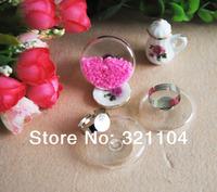 Promotion! 25X25MM Flat Round  Bubble Liquid Rings,glass bubble rings,Glass Globe Bottle Rings,glass globe rings DIY
