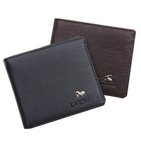 Ultra-thin wallet male short clip PU bags Men purse card  Free shipping