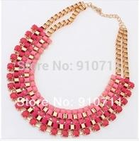 3 Colors Fashion Western statement elegant Chain Colorful Rinestones Pendant choker necklace jewelry  1set/lot free shipping