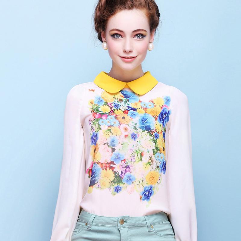 Новая Цветная Женская Блузка