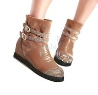 Fashion Girl Women's Round Head Flat Heel Faux PU Rhinestone Platforms Increased Boots Shoes 5 Sizes 9113
