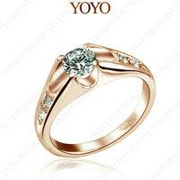18K Rose Gold Plated Use Shining Austria Crystal Simulated Diamond Wedding Ring (YOYOR062R1)