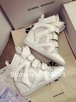 New 2014 summer  isabel marant breathable wedges sneakers  genuine leather original increase height shoes boots sport  8 cm
