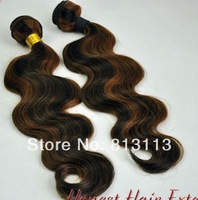 Oxette 100% Malaysian virgin Human Hair Weft Body wave ombre highlighted piano #1b/#30 4 bundles