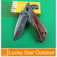 Wholesale 5pcs/lot Buck X35 3CR13 57HRC Titanium Blade+ Steel &Wood Handle Mini Pocket Knives Best Gift