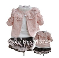 100% cotton girl 3pcs clothing set knitted suit +lace shirt + bow tutu skirt children dress suits ,high quality girls skirt set