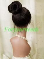 Free shipping Hot sale 5A Brazilain virgin hair  Fashion silky straight  Ponytail #1 black  Full lace human hair wigs