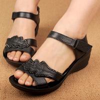 2014 summer sandals genuine leather wedges female sandals soft outsole cowhide quinquagenarian women's sandals plus size