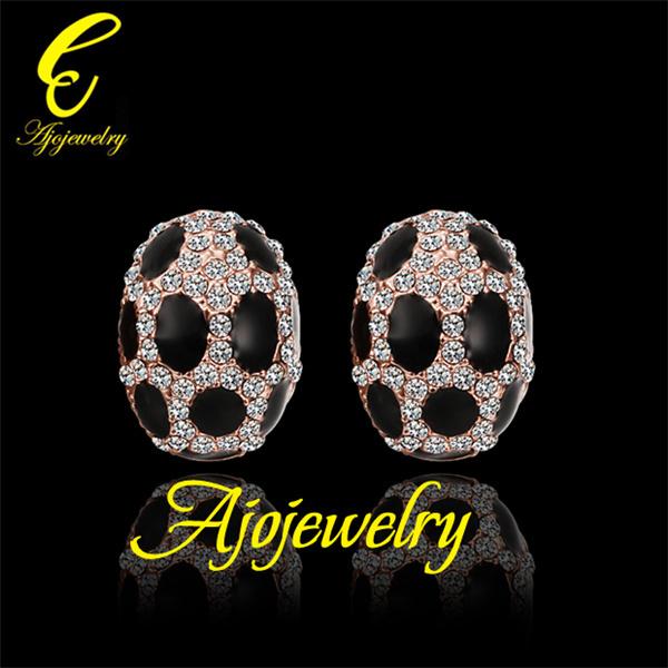 2014 18KRGP black enamel insect design cz diamond stud earrings for women(China (Mainland))