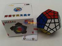 6pcs/lot shengshou megaminx cube SS Megaminx twist puzzle toy Black/white base PVC sticker  Free Shipping