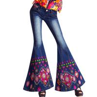 Joinus 2014 spring women big trumpet embroidered jeans wide leg pants female slim boot cut denim flare pants unique design