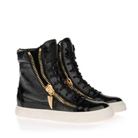 Free shipping 2013 GZ high top patent snake printed black white sneakers giuseppe shoes for women men leather GZ casual shoes
