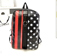 Free Shipping (2colors) 2014 hot sale New fashion design stylish star flag backpack students travel backpack