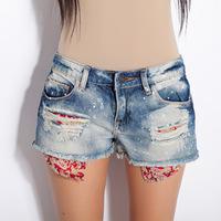 2014 Summer new fashion cool denim shorts wearing white retro holes jeans shorts female shorts pants Za* Women's shorts