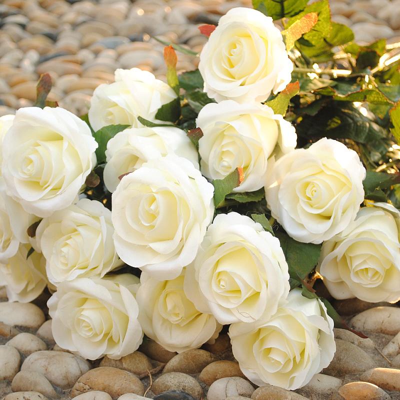 envío gratis de flor artificial rosa flores artificiales flor de seda nueva decoración de la casa de flores al por mayor