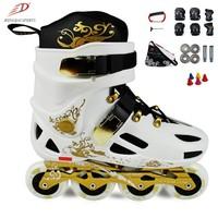 Hk slalom skates professional fancy shoes skating shoes roller skates adult roller skates gold