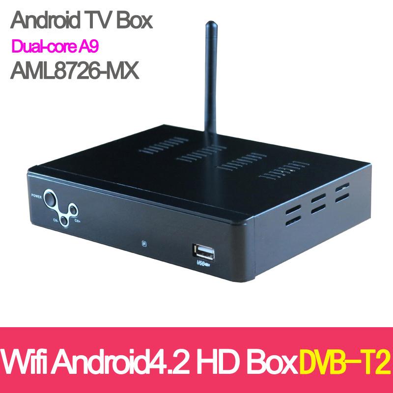 DVB-T2 Free Russian Android 4.2 Full HD HDMI 1.5GHZ Dual-core A9 Media Dual-3D GPU 1GB 4GB WIFI Network player Set Top TV BOX(China (Mainland))