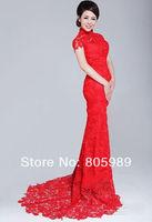 Free shipping best selling custom-made white&ivory  Fashion Lace Mermaid Court Train  Wedding Dresses SH0590