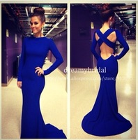 2014 New vestidos de fiesta Royal blue Sexy Spandex High formal long evening dress With Long Sleeves Mermaid Evening Gowns