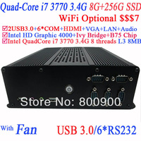 wholesale price embedded desktop pcs with B75 Express Chipset Intel quad-core i7 3770 3.4Ghz eight threads CPU 8G RAM 256G SSD