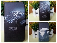 New arrive Game of Thrones Stark Fire Blood dragon Wolf leather flip case cover for Samsung galaxy s4 mini I9190