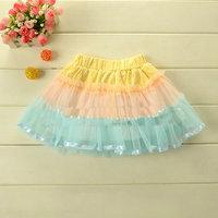Korean children and splicing yarn Rainbow Performance skirt