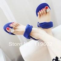 2014 women's summer flip-flop rhinestone flat slippers female flat sandals women's shoes