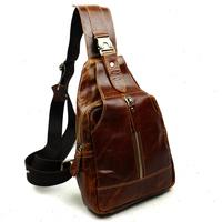 New Vintage Retro Fashion Casual Genuine Leather Cowhide Men Chest Bag Messenger Bag Shoulder Messenger Bag Bags For Men 8101