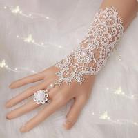 Hot Sale Fashion Bride White, Ivory Pearl Lace Wedding Bridal Gloves Wholesale ,Ring Bracelet Free Shipping
