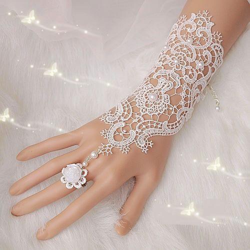 Heißer verkauf mode braut weiß, elfenbein perle spitze braut hochzeit handschuhe großhandel, ring armband versandkostenfrei
