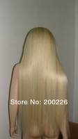 free shipping top quality silk straight brazilian hair blonde human hair full lace wig #613